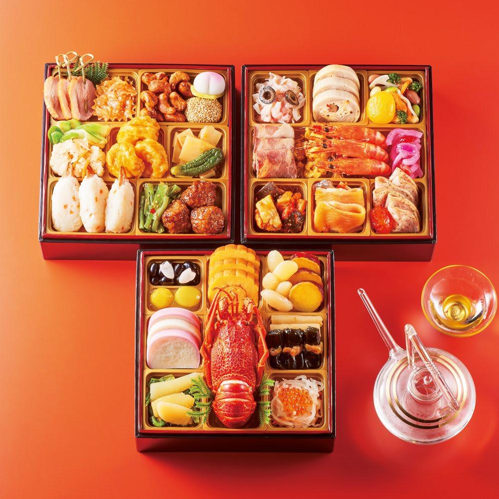 三饗美麗 東京銘店監修 和洋中コラボ三段重 (約3人前) 和惣菜