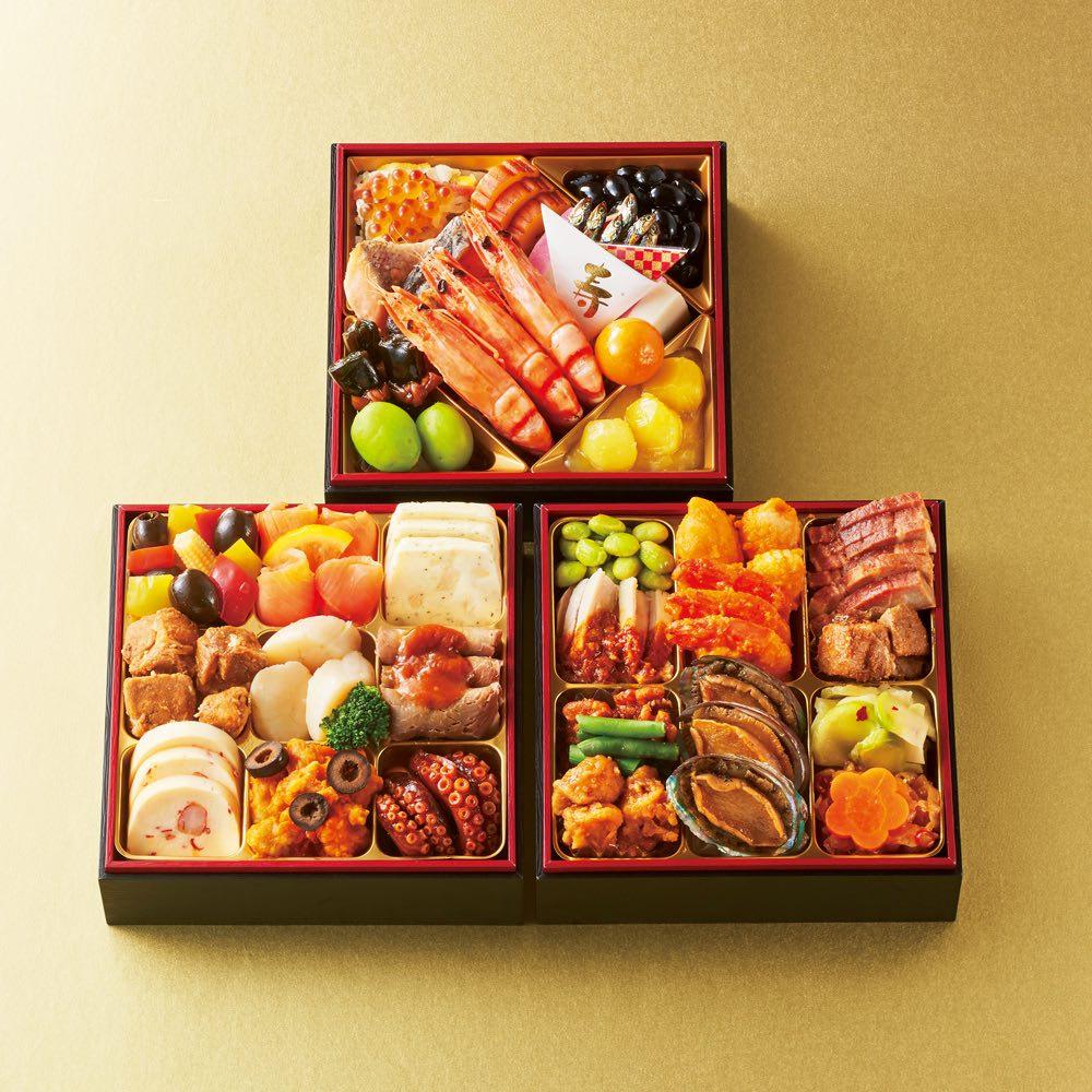 グルメ 食品 お惣菜 和惣菜 「ホテルオークラ」 和洋中おせち三段重 (約3~4人前) FJ7820