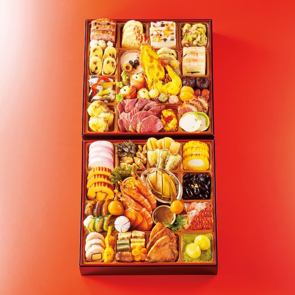 大阪黒門市場 「豪華絢爛」二段重 (約3~4人前) 和惣菜