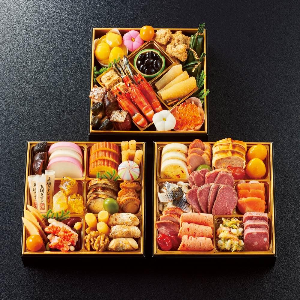 大阪黒門市場 「味萬彩」おせち三段重 (約3人前) 和惣菜