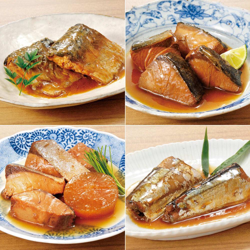 三陸の煮魚惣菜4種セット (4種×3袋 計12袋) 【盛付例】それぞれ温めてお召し上がりください。