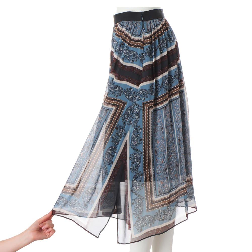 エリカ社 シルクシフォン ハンカチヘム スカート 両脇裾スリット仕様