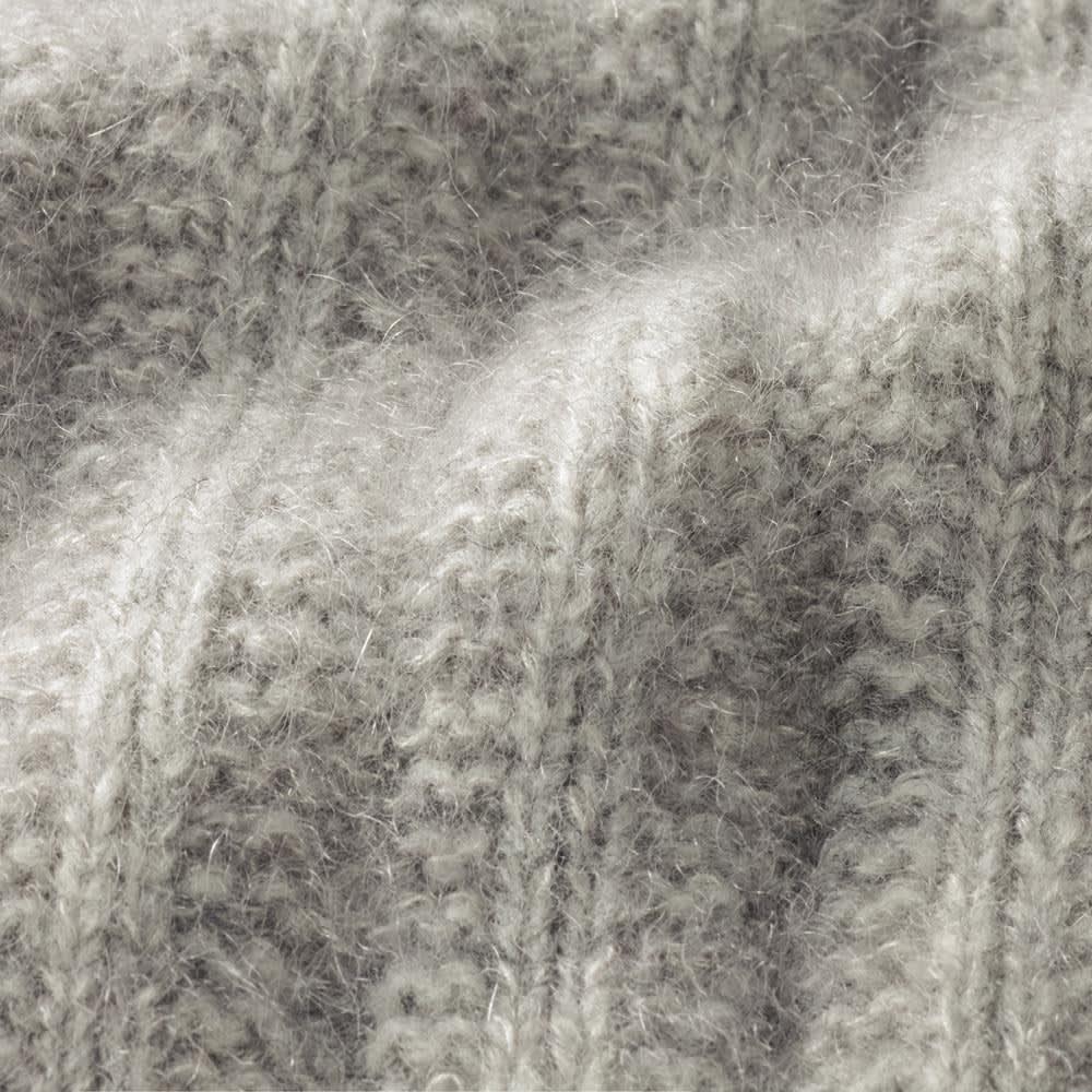 ホールガーメント ウールモヘヤシルク 針抜き 鹿の子編み カーディガン 生地アップ