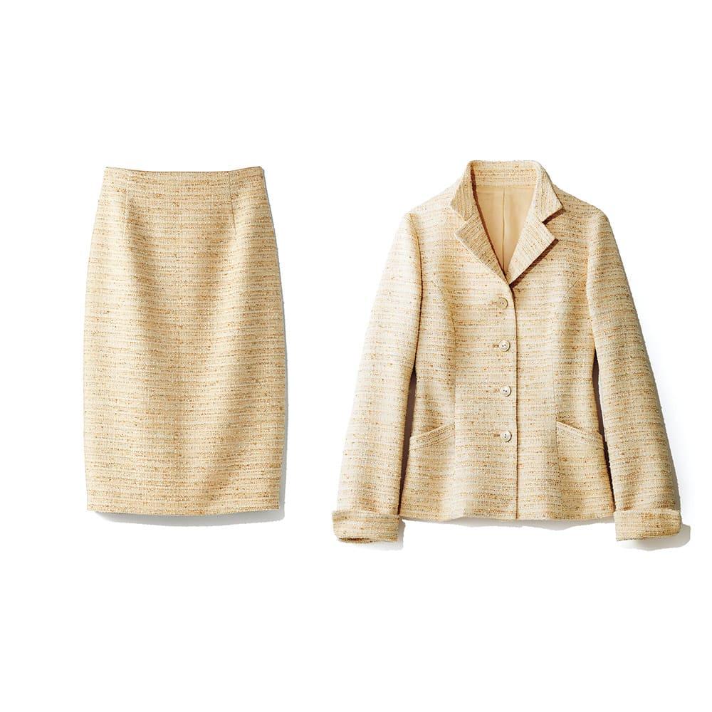 イタリア素材 ラメツイード スーツセット(ジャケット+スカート) ジャケット+スカート