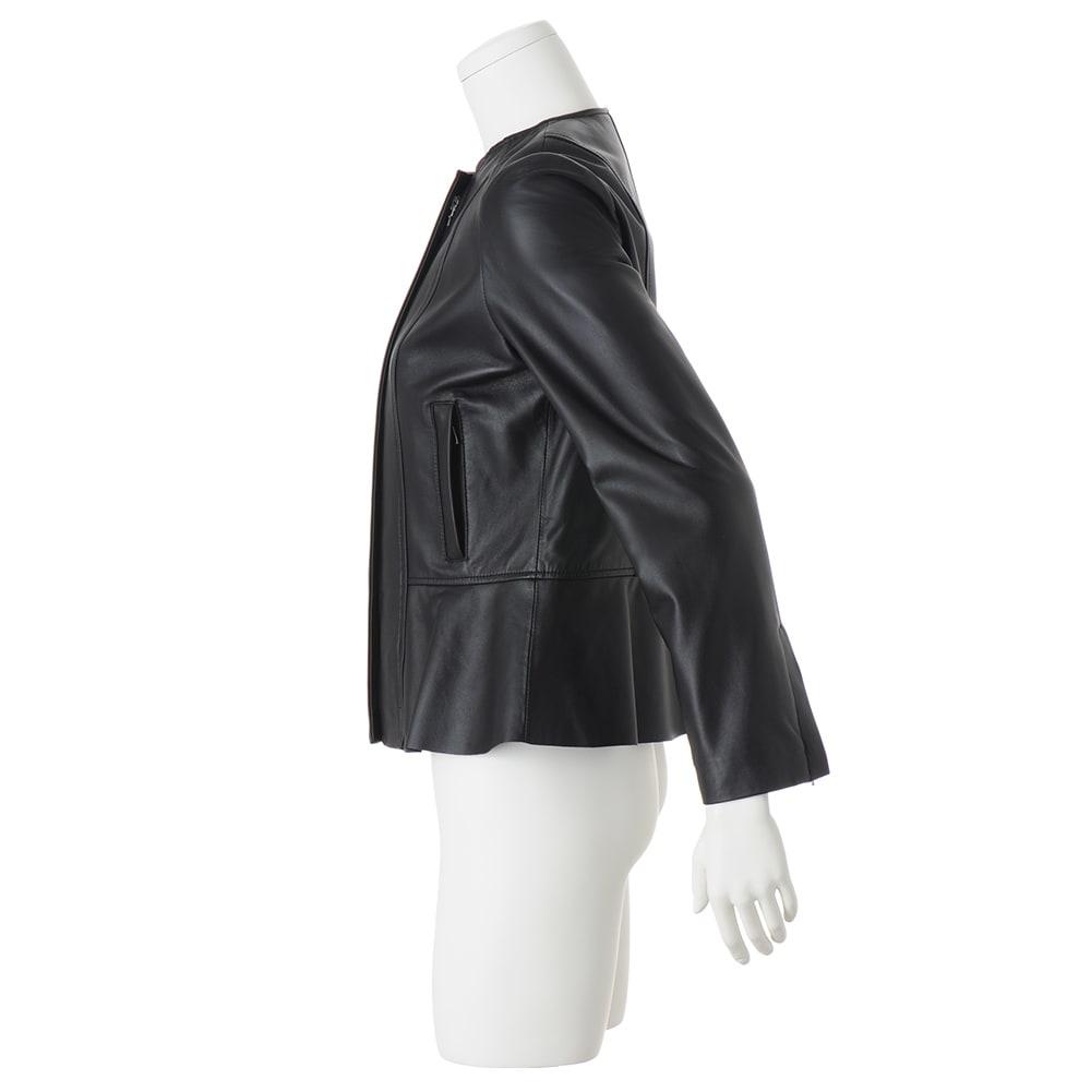 ラムレザー ペプラムデザイン ジャケット