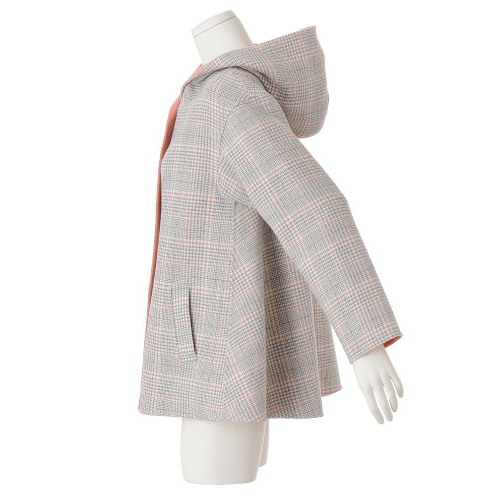 イタリア素材 ウール混 リバーシブル フーデッドコート