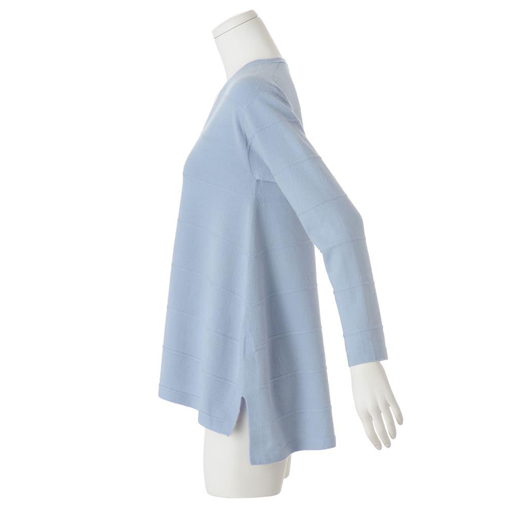 ホールガーメント カシミヤ 編み地ボーダー チュニック 両脇裾スリット仕様