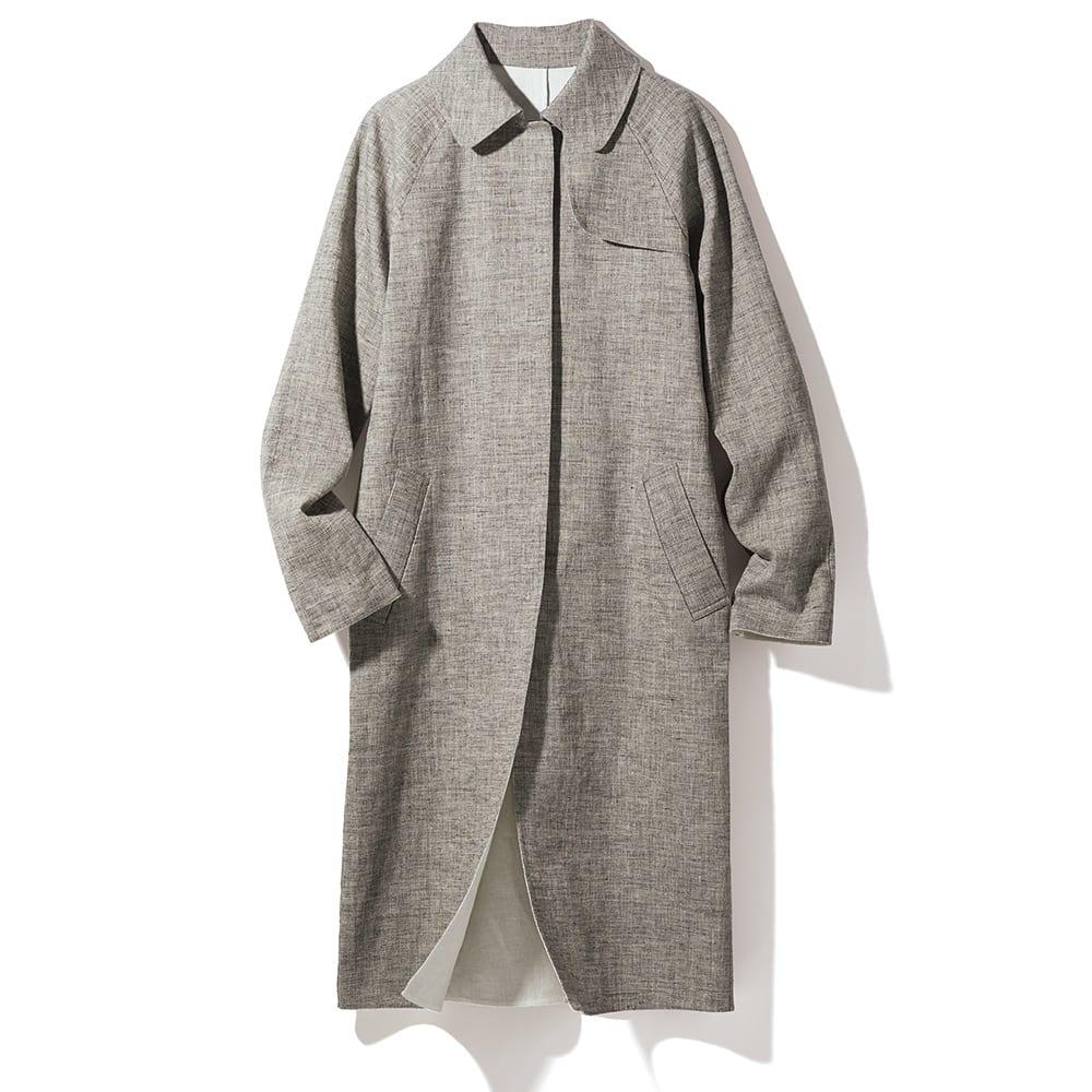 イタリア素材 リネン ダブルフェイス コート