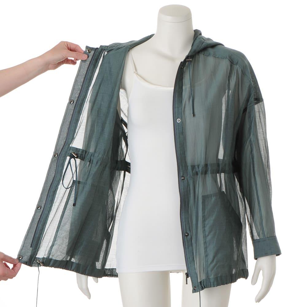 コットンシルクオーガンジー シャツジャケット ウエスト・裾・フード周りドローストリング仕様
