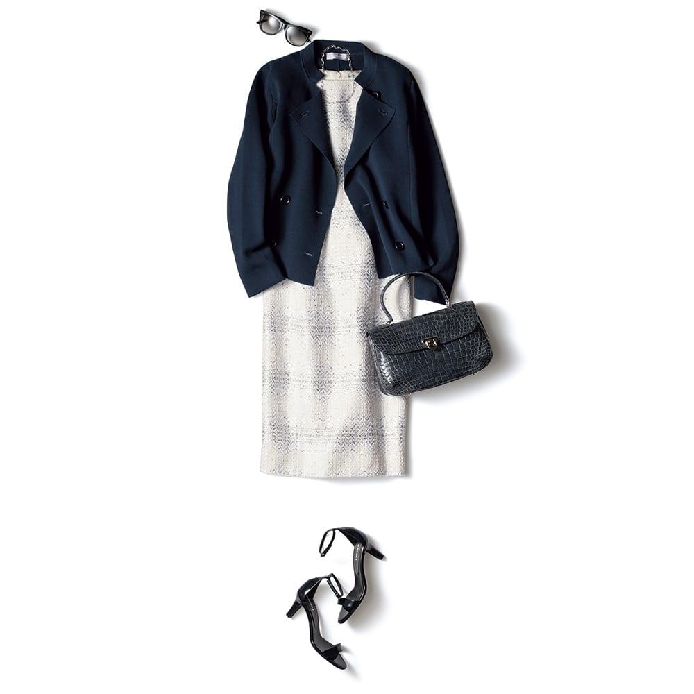 イタリア糸 「エミールコトーニ」 強撚コットン ミラノリブ ニットジャケット (イ)ダークネイビー コーディネート例 /ショート丈だから、ワンピースの肩にさらりと掛けても絵になる