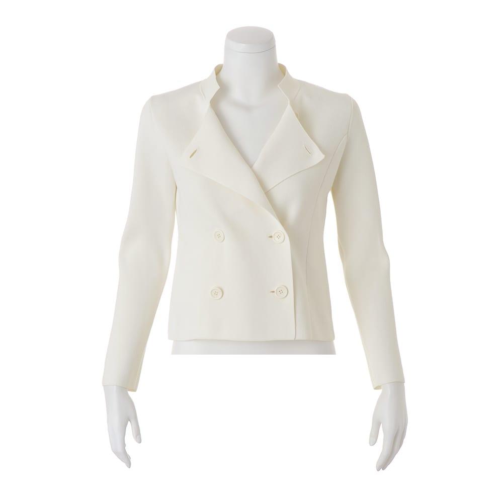 イタリア糸 「エミールコトーニ」 強撚コットン ミラノリブ ニットジャケット (ア)オフホワイト