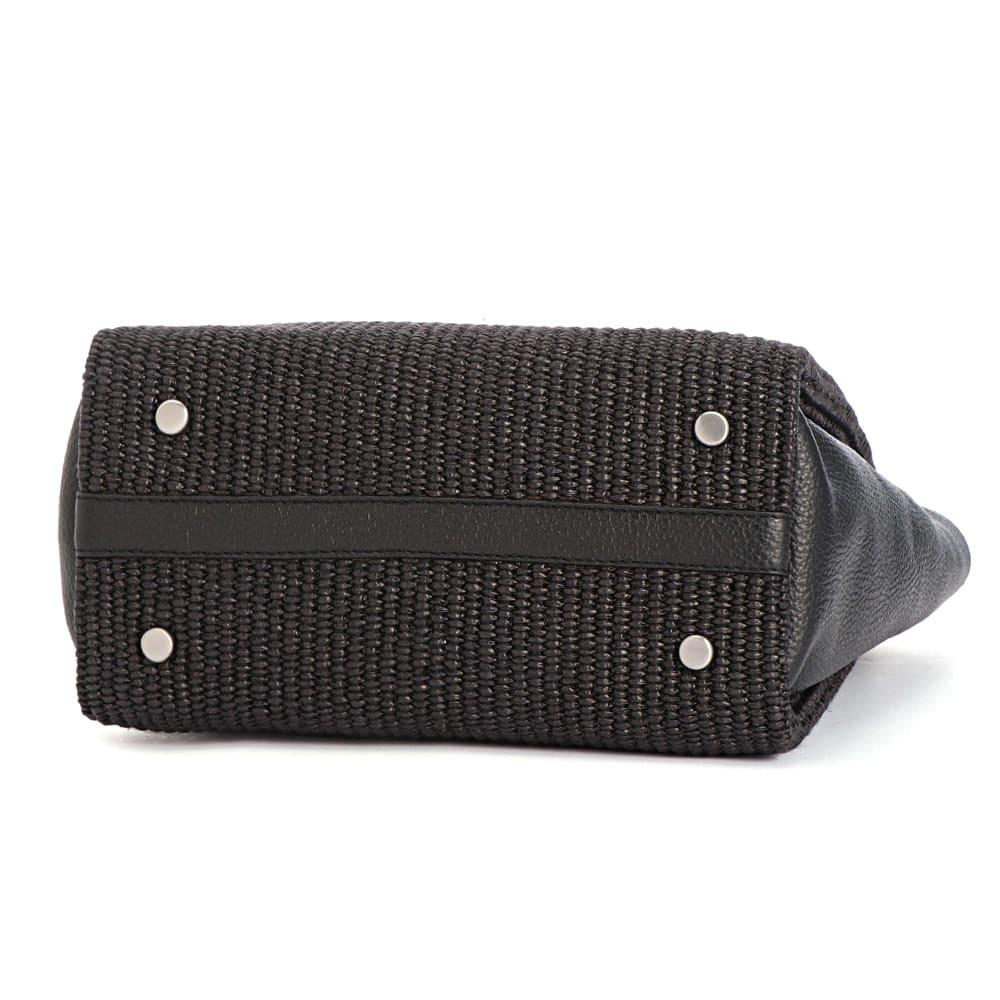 ARCADIA/アルカディア ラフィア風素材 トートバッグ(イタリア製) (ア)ブラック BOTTOM