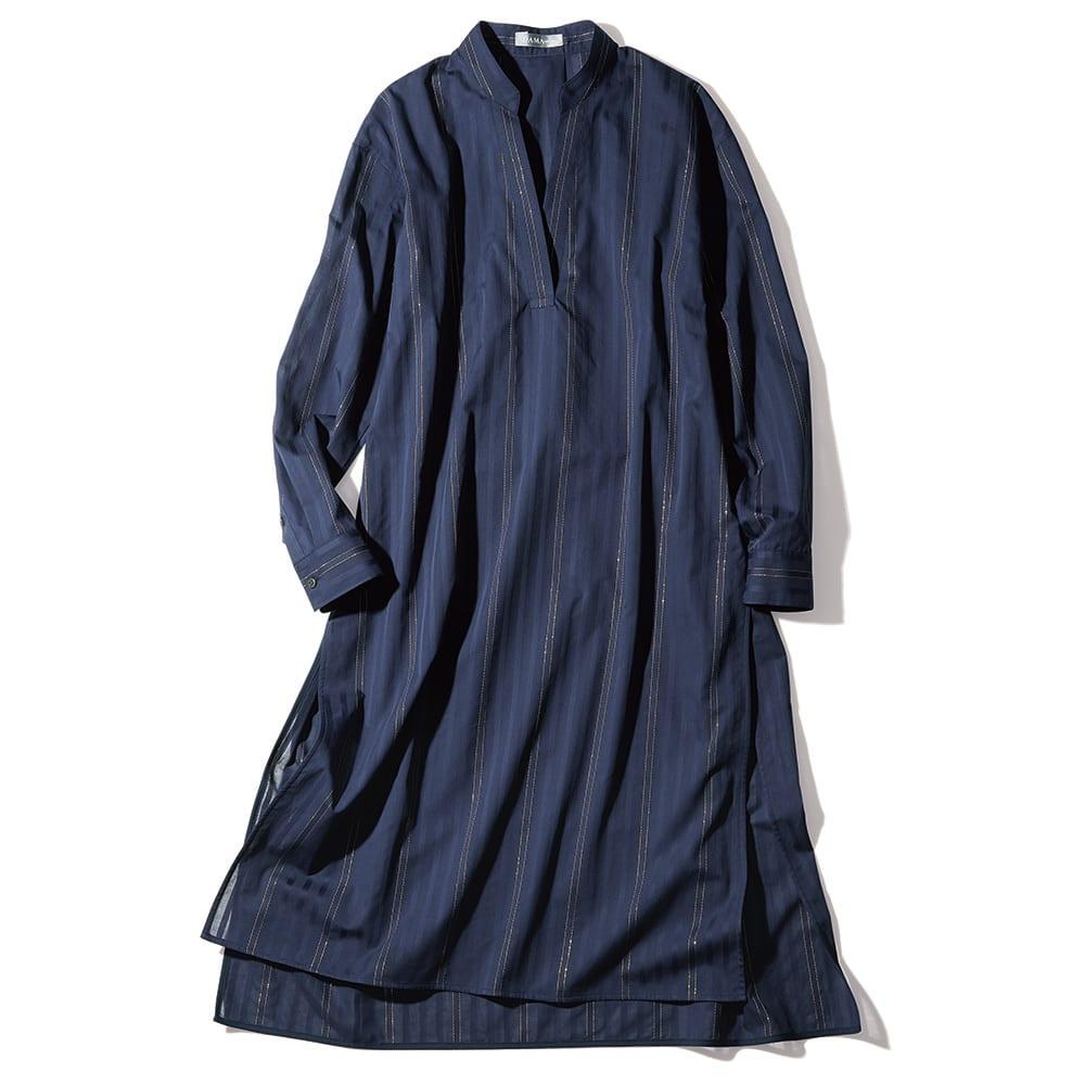 ソメロス社 シャドーストライプ ロングシャツ