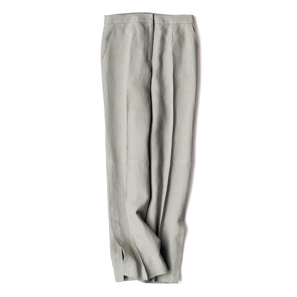 【股下丈75cm】 リベコ社 裾ベント入り リネン セミワイドパンツ グレー 61 【レディース・女性】