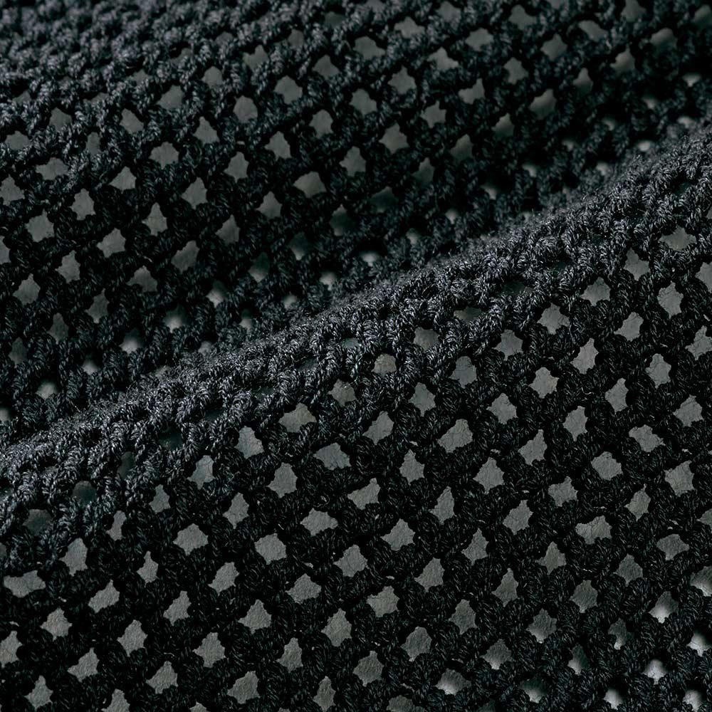 強撚コットン メッシュ編み パーカ 生地アップ