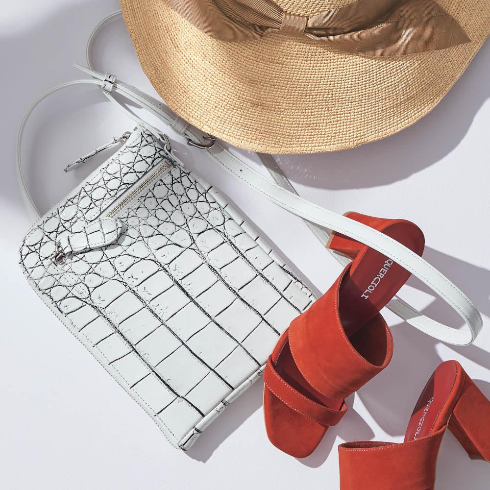 マットクロコ 薄マチ ミニショルダーバッグ (ア)マットバニラ ※帽子・サンダルは別売りの商品です。