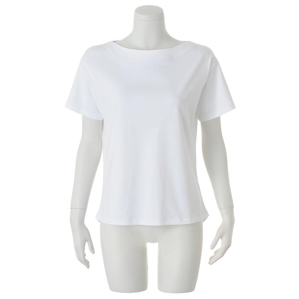 スビン綿 半袖 プルオーバー (ア)ホワイト