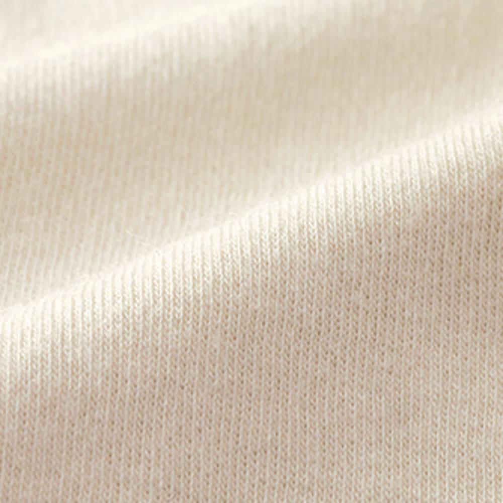 スビン綿 半袖 プルオーバー (イ)ライトベージュ 生地アップ