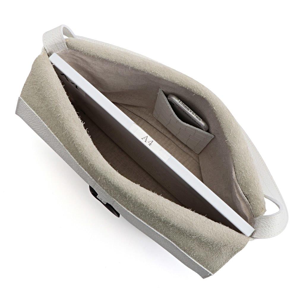 LANZETTI/ランゼッティ リング付き ワンショルダーバッグ(イタリア製) A4横サイズ収納可/ 138mm×67mmスマートフォン 内ポケット収納可