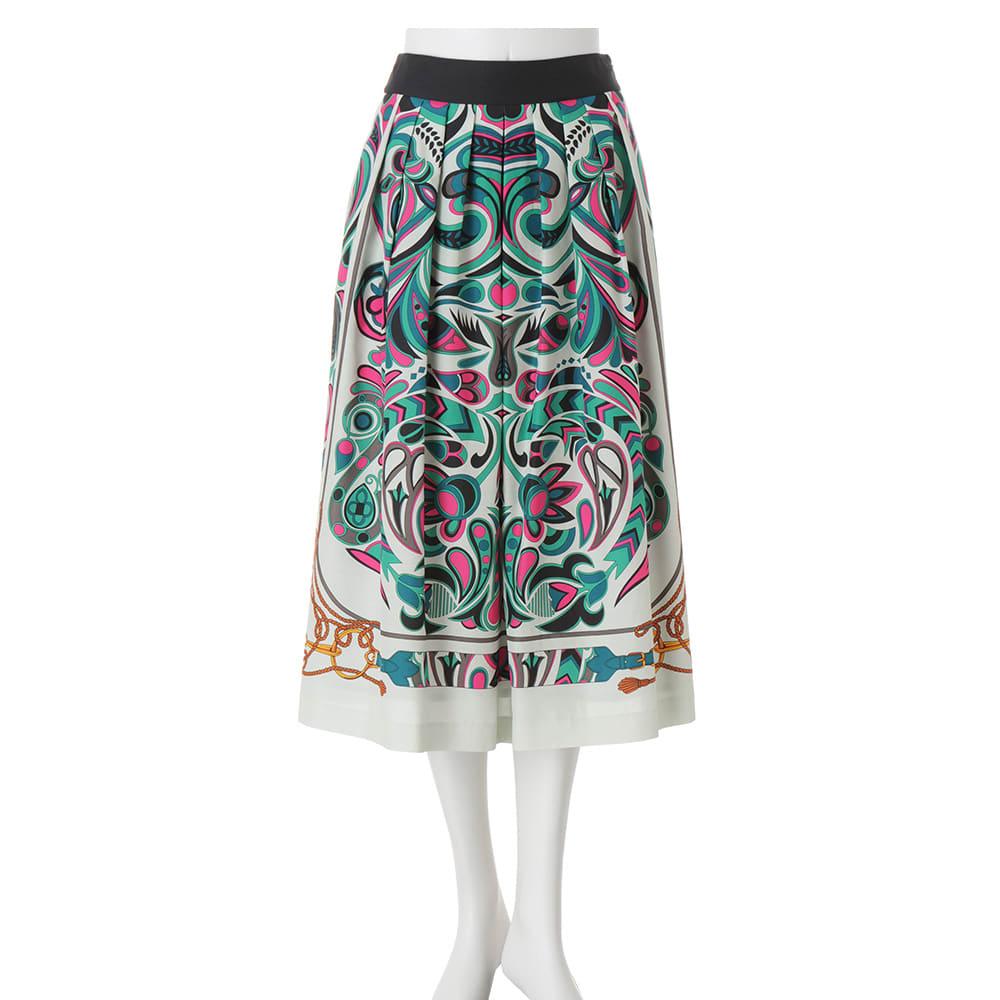 コットンシルク パネルプリント スカート