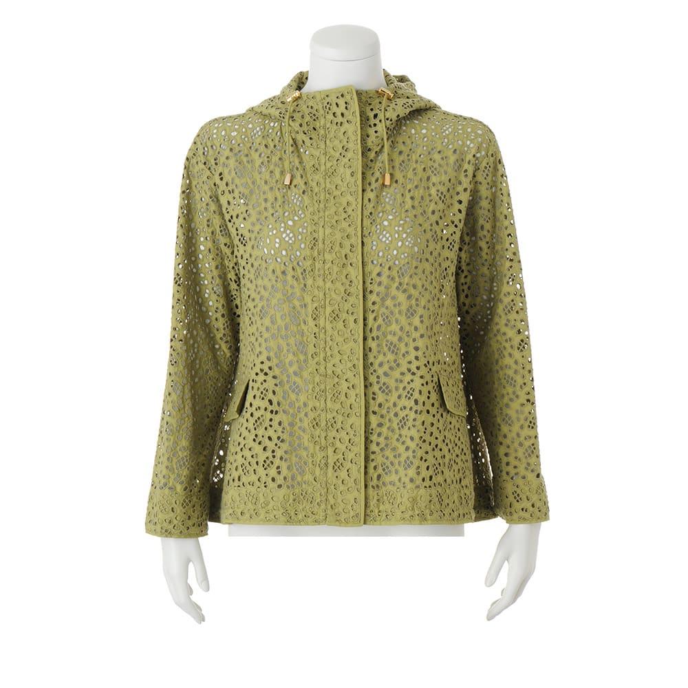 高密度タフタ 総刺繍 フーデッド ジャケット フード・裾周りドローストリング仕様