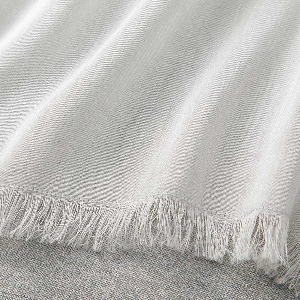 ラミーシルク 布帛使い ニットカーディガン 裾のフリンジ