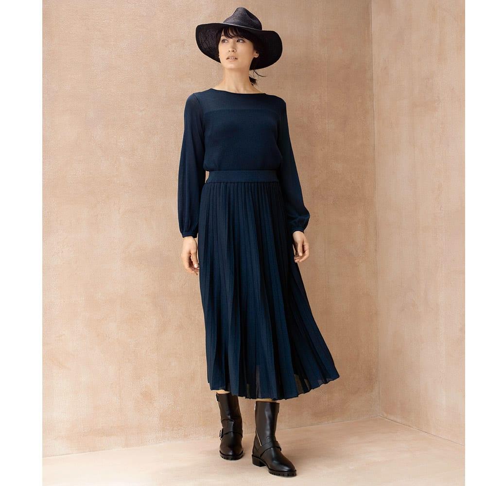 編み地切り替え ニット プリーツ風スカート コーディネート例