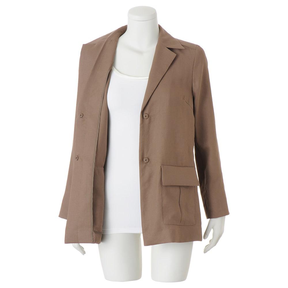 トリアセテート混 フラップポケット シャツジャケット ※インナーは含まれません。