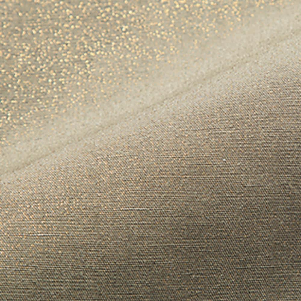 箔プリント リネン混 セミワイドパンツ (ア)カーキ×ゴールド箔 生地アップ