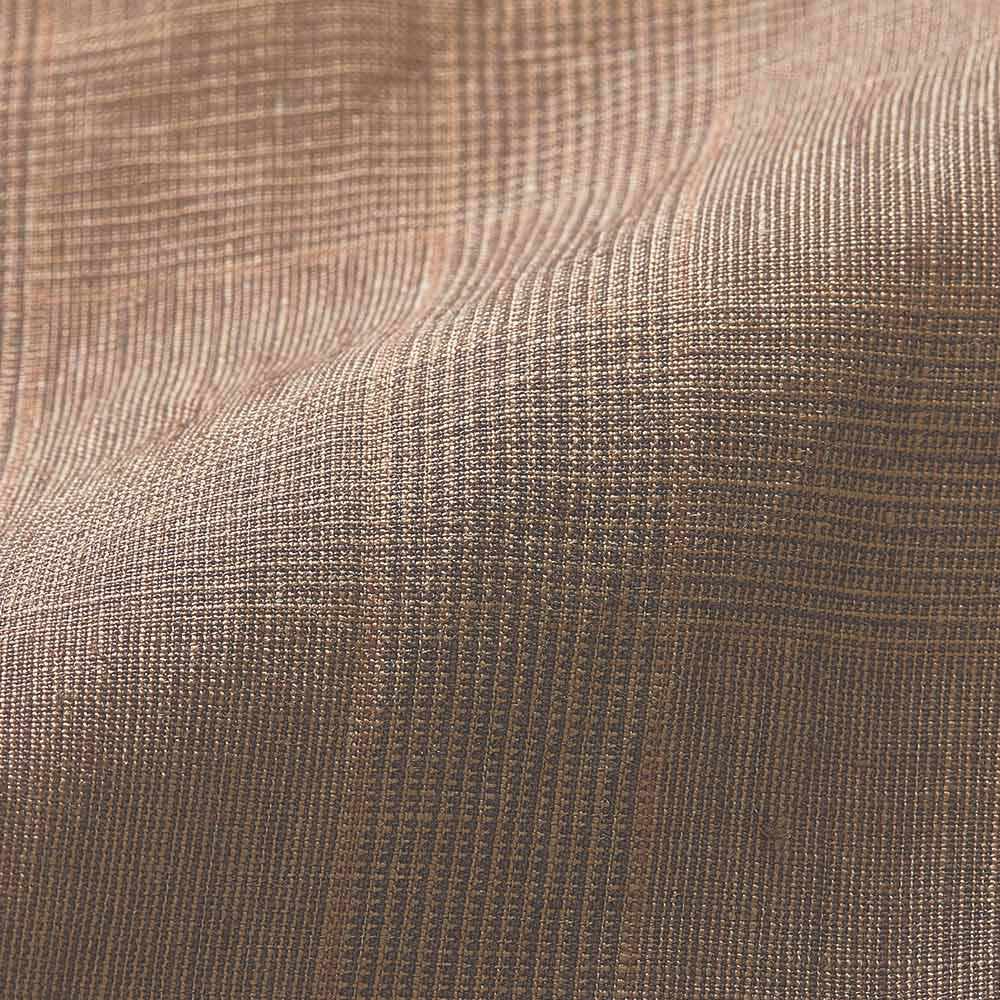 リネン素材 ベルト付き チェック柄 ワイドパンツ 生地アップ