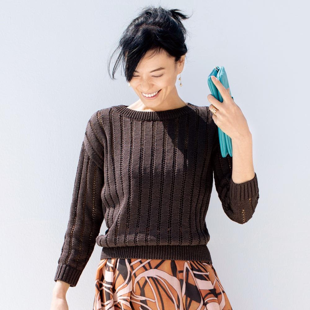 ギマコットン 透かし編み プルオーバー 着用例