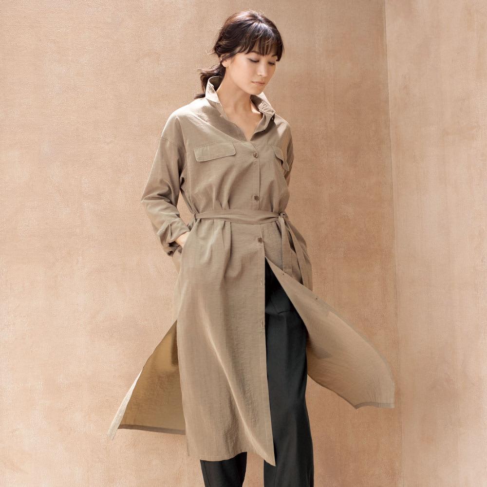 イタリア シアー素材 シャツコート 着用例