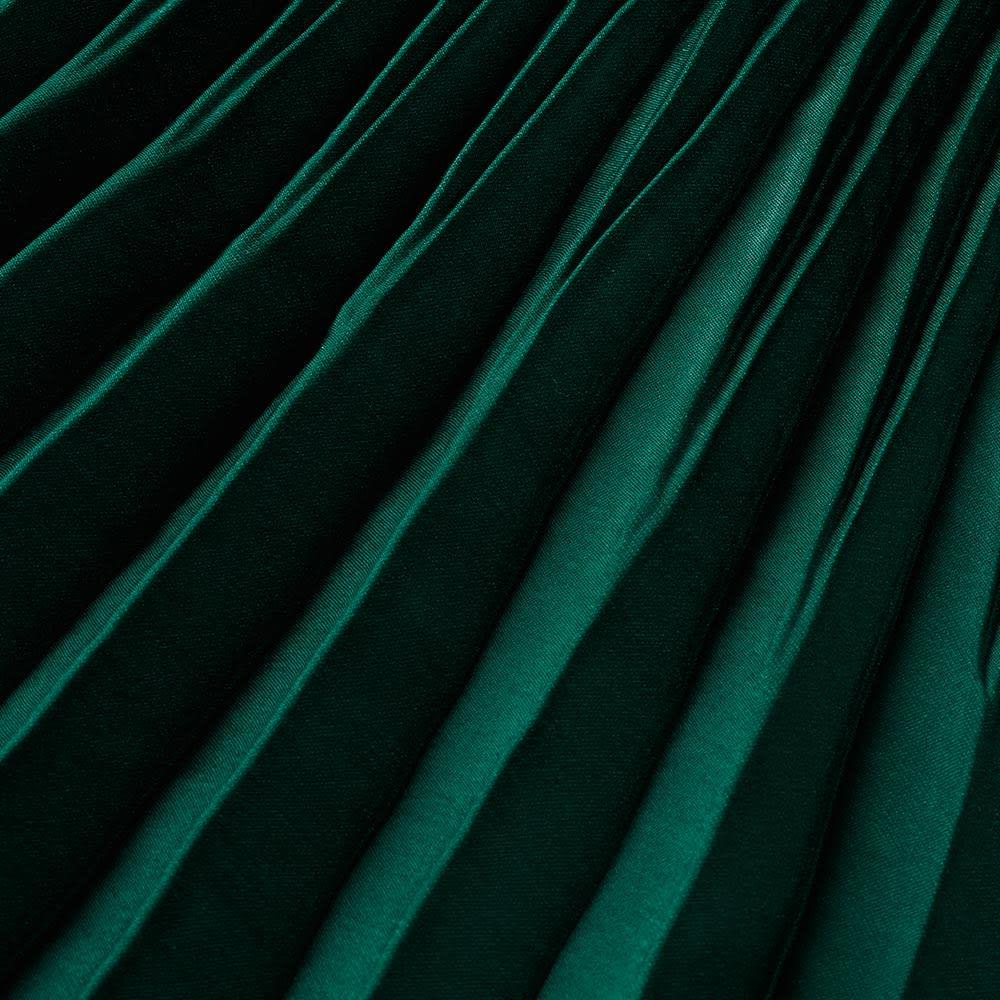 サテン素材 変形プリーツ スカート (イ)グリーン 生地アップ