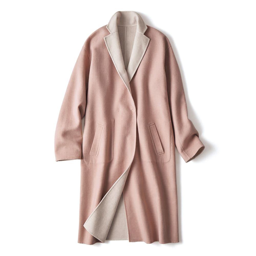 イタリア素材 カシミヤ混 リバーシブル コート ピンク面