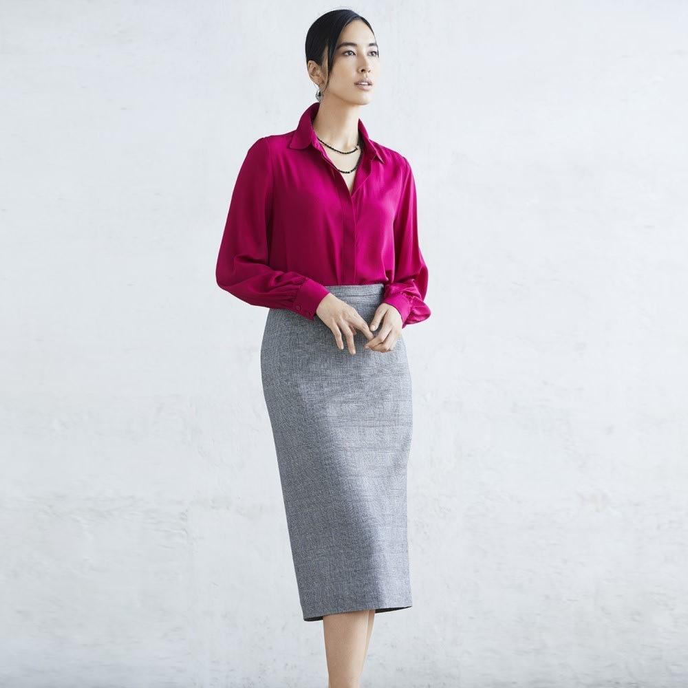 グレンチェック ロングタイトスカート コーディネート例