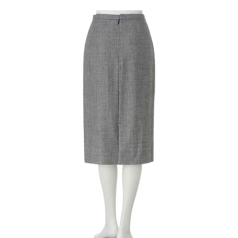 グレンチェック ロングタイトスカート