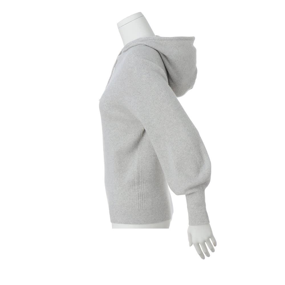 ワッフル編み ホールガーメント フーデッド プルオーバー
