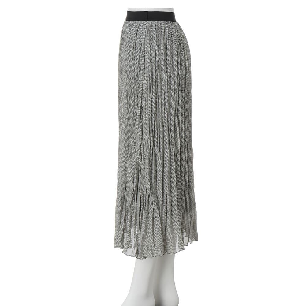 ミニギンガム ランダムプリーツ スカート