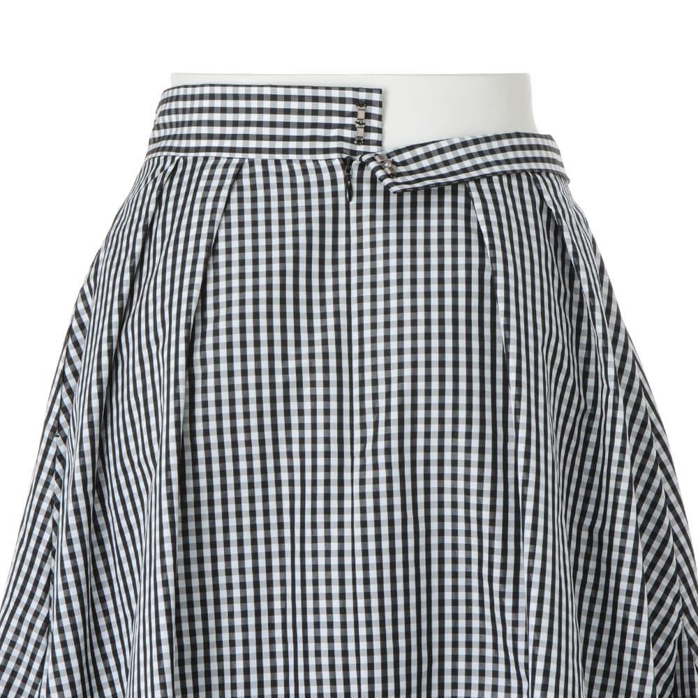 イタリア素材 ギンガムチェック タフタ タック使い スカート