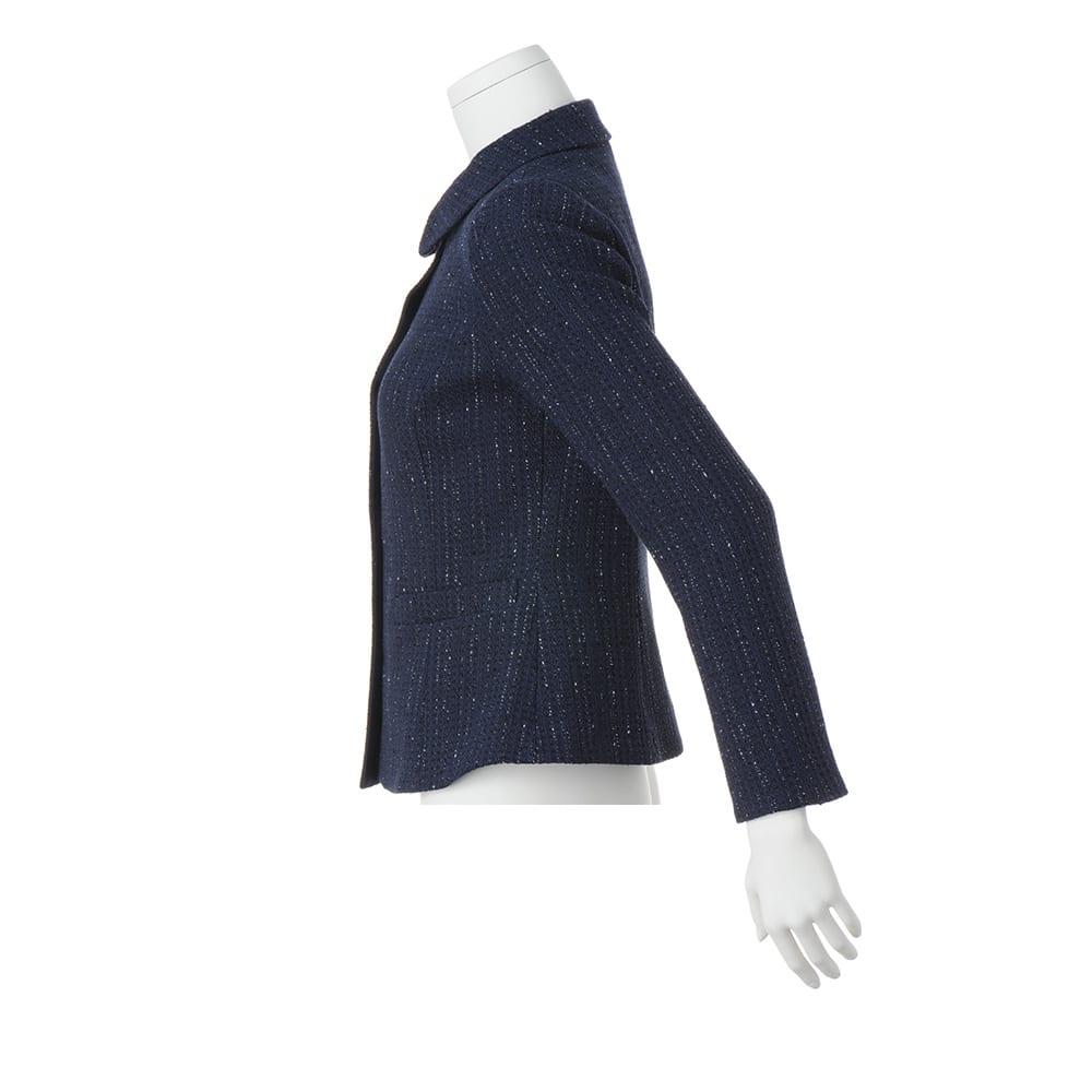 イタリア素材 ラメツイード ステンカラー ジャケット
