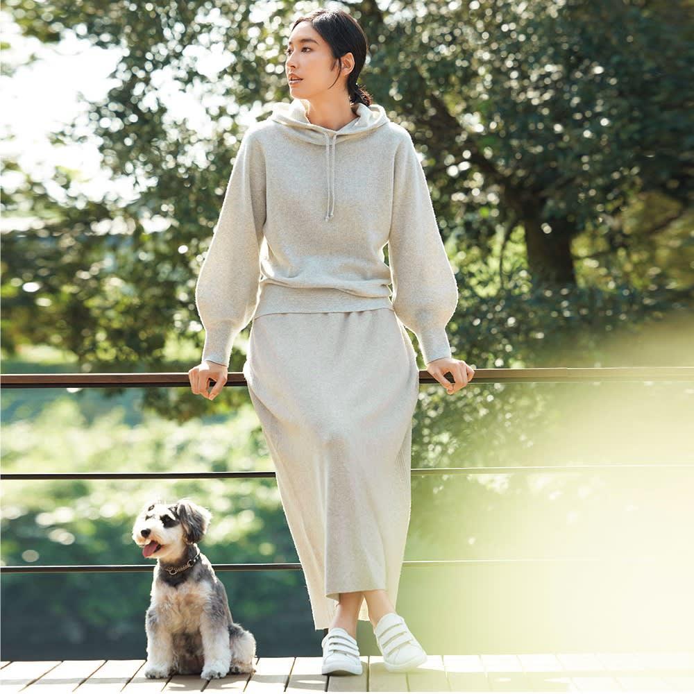 ワッフル編み ホールガーメント セットアップ (プルオーバー+スカート) コーディネート例