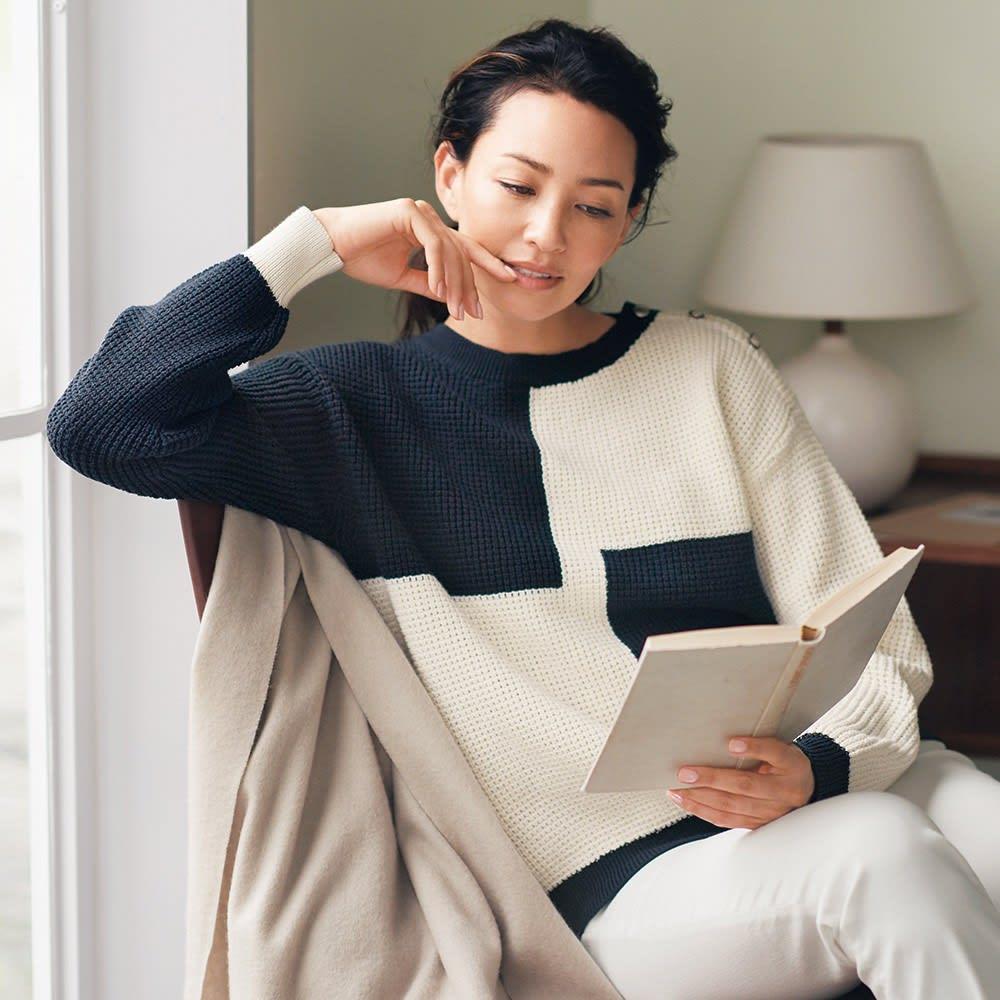リリヤーン ワッフル編み インターシャ プルオーバー 着用例