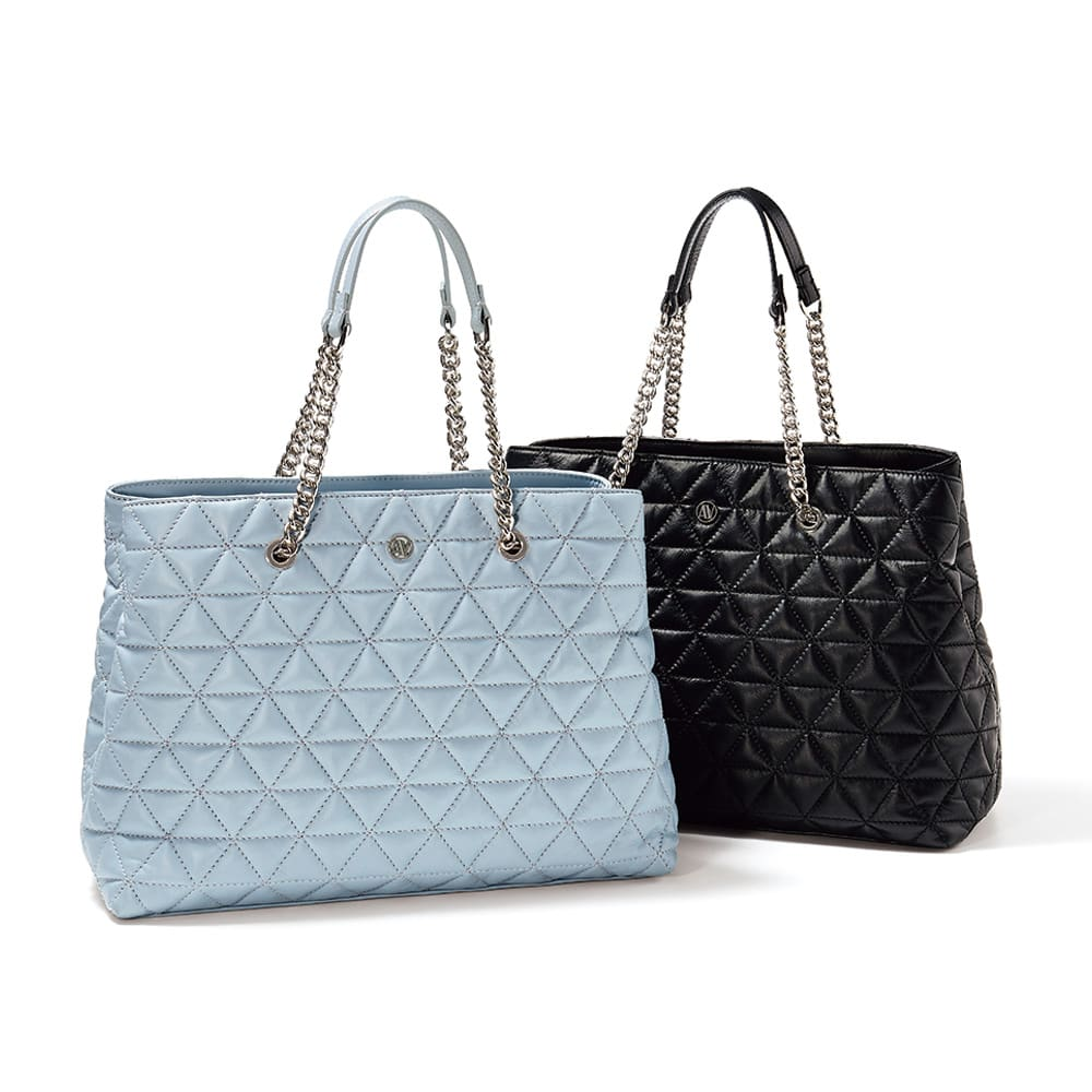 ANNA VIRGILI/アンナ ヴィルジリ キルティング バッグ(イタリア製) 左から (イ)ライトブルー (ア)ブラック