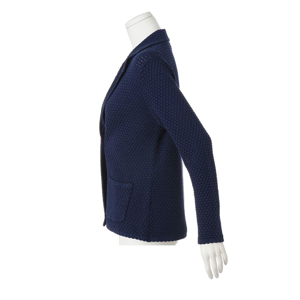 イタリア糸 コットン混 柄編みテーラードカーディガン