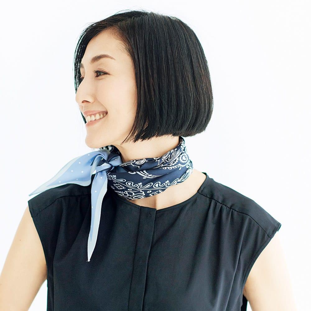 シルクツイルダイヤ型 スカーフ コーディネート例