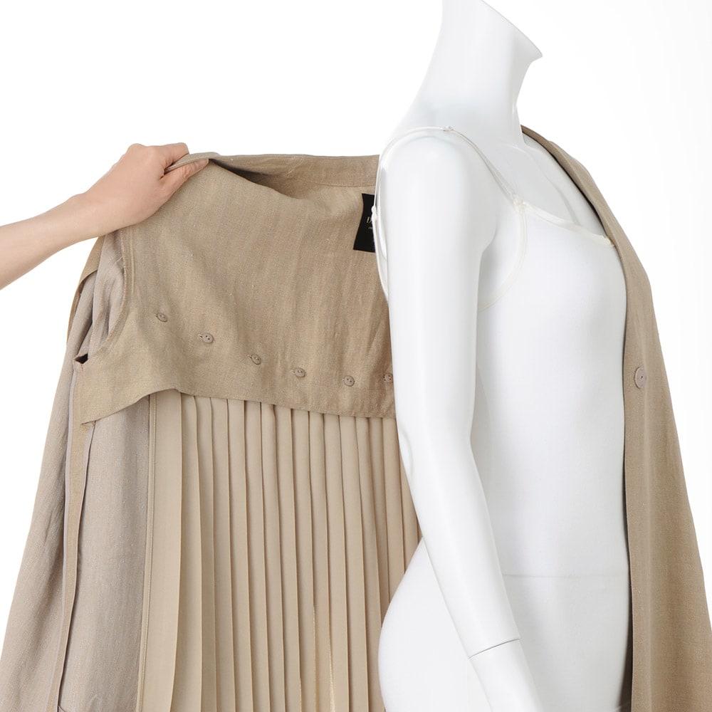 ソルビアッティ社 リネン ヘリンボーン プリーツ使い コート 後ろ身頃別布プリーツ付き(取り外し可)   ※インナーは含まれません