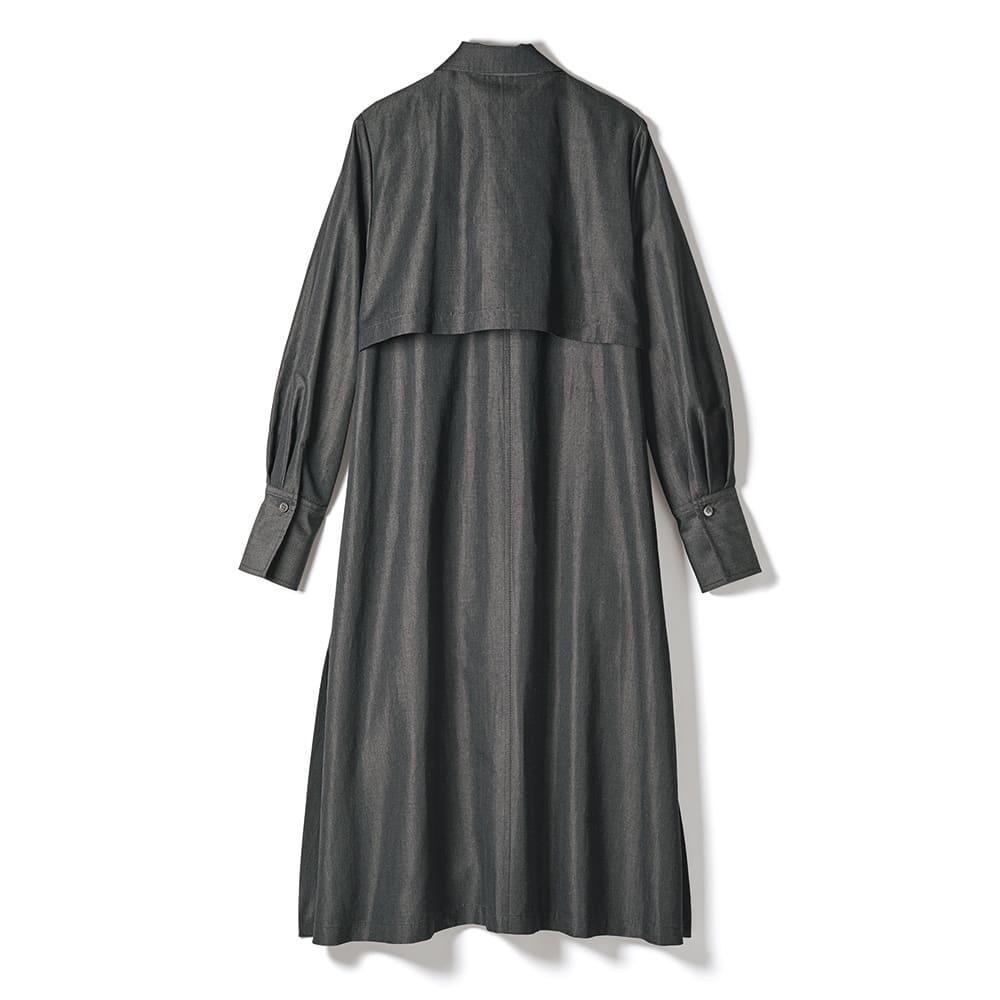「NIKKE」 マフ リネンシルク ステンカラー シャツコート BACK