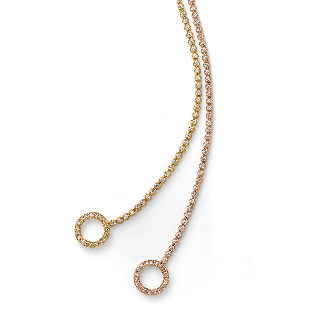 K18 1.1ctダイヤ デザイン ブレスレット 左から (ア)YG (ウ)PG