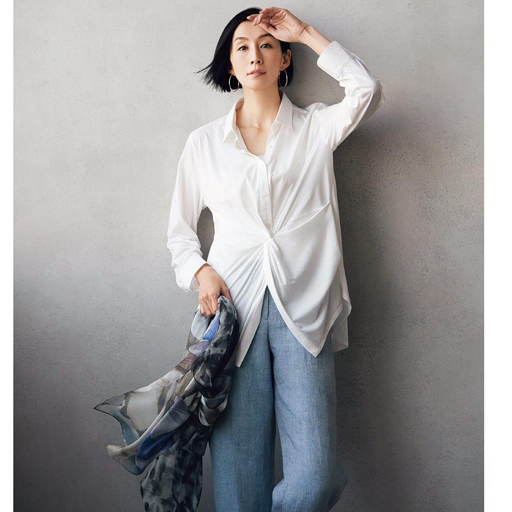 布帛使い マハラニ(R) 超長綿 ジャージー シャツ コーディネート例