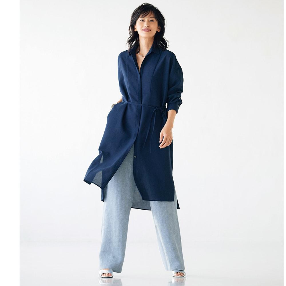 オーバーサイズ ロングシャツ コーディネート例